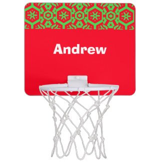 Red Green Your Text (Andrew) Xmas colors Mini Basketball Backboard