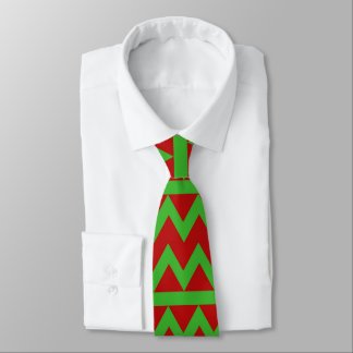 Red green zig zag pattern tie