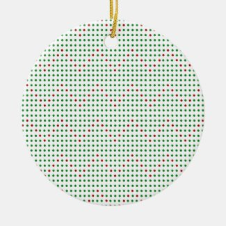 Red Green Zigzag Chevron Dots Pattern Holiday Ceramic Ornament