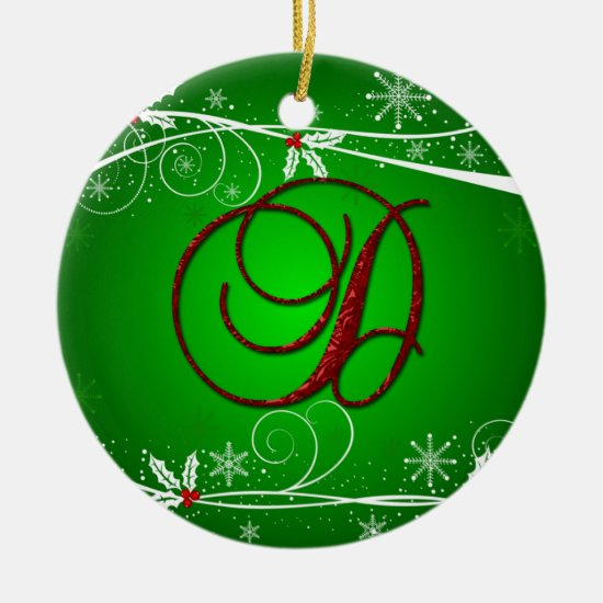 Red Greens Holly Initial D Christmas Ornament