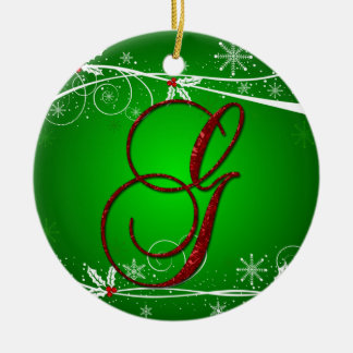Red Greens Holly Initial G Christmas Ornament