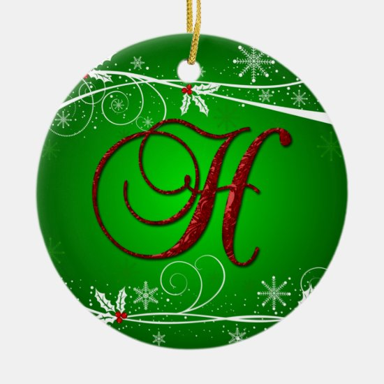 Red Greens Holly Initial H Christmas Ornament