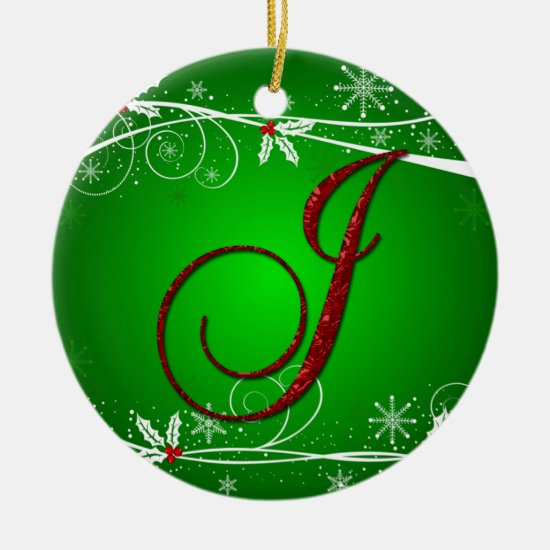 Red Greens Holly Initial J Christmas Ornament