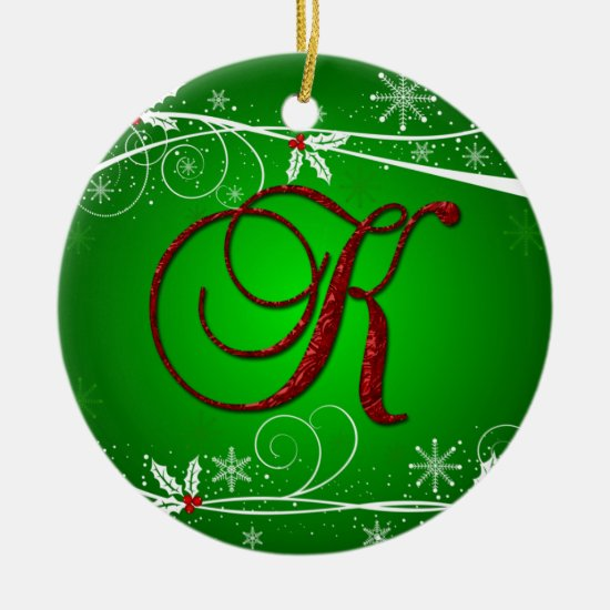 Red Greens Holly Initial K Christmas Ornament