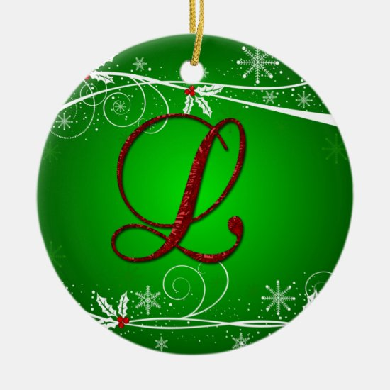 Red Greens Holly Initial L Christmas Ornament