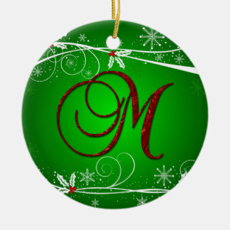 Red Greens Holly Initial M Christmas Ornament