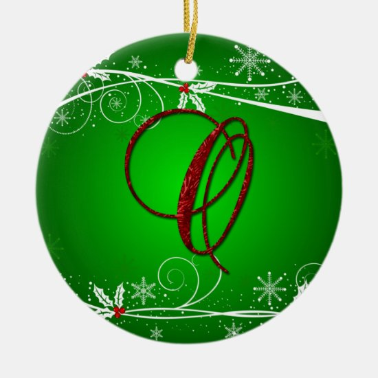 Red Greens Holly Initial O Christmas Ornament