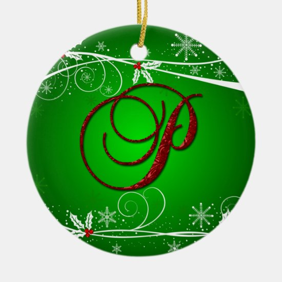 Red Greens Holly Initial P Christmas Ornament