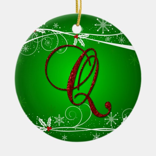 Red Greens Holly Initial Q Christmas Ornament