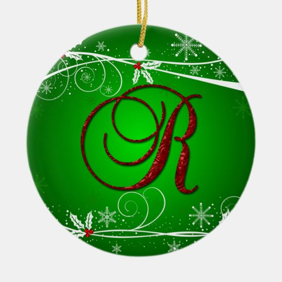 Red Greens Holly Initial R Christmas Ornament