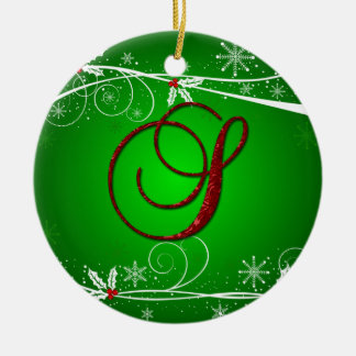Red Greens Holly Initial S Christmas Ornament