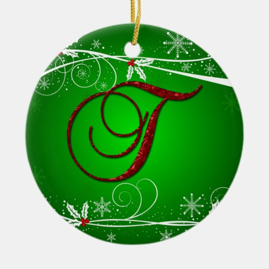 Red Greens Holly Initial T Christmas Ornament