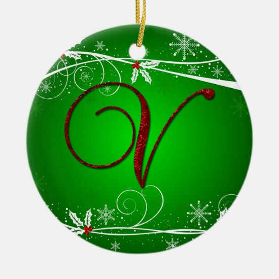 Red Greens Holly Initial V Christmas Ornament