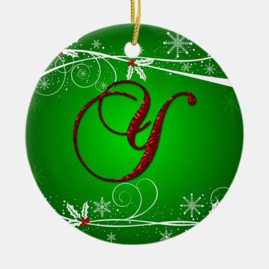 Red Greens Holly Initial Y Christmas Ornament