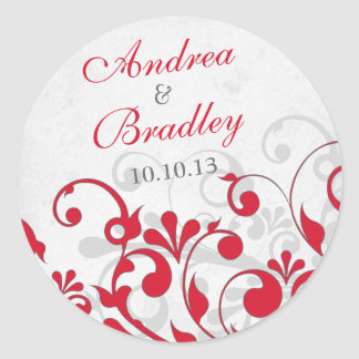 Red Grey Abstract Floral Wedding Envelope Seal