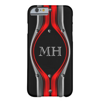 Red Grey Abstract Metal look Chrome Monogram Barely There iPhone 6 Case