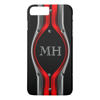 Red Grey Abstract Metal look Chrome Monogram iPhone 7 Plus Case