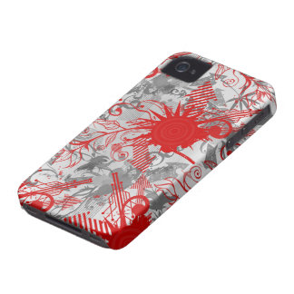 Red grey abstract swirls awesome iphone 4 casemate Case-Mate iPhone 4 case