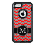Red, Grey And Black Chevron, Monogrammed Defender Otterbox Defender Iphone Case at Zazzle