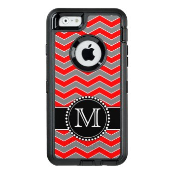 Red  Grey And Black Chevron  Monogrammed Defender Otterbox Defender Iphone Case by CoolestPhoneCases at Zazzle