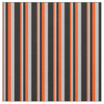 [ Thumbnail: Red, Grey, and Black Colored Stripes Fabric ]