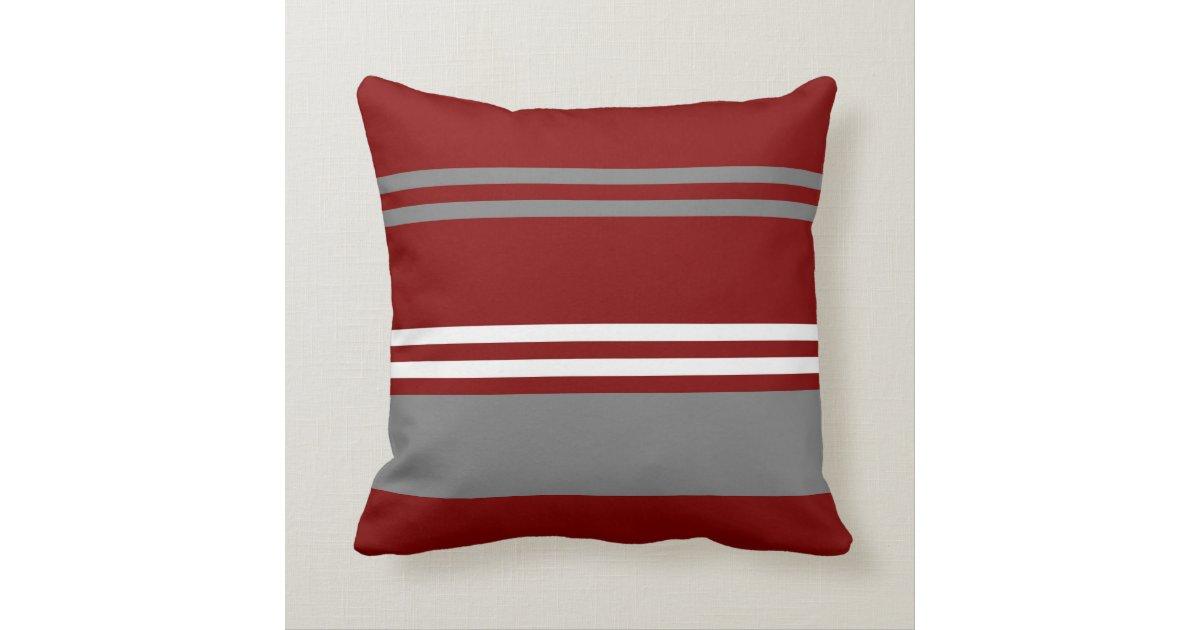 Throw Pillows Girly : Red, Grey and White Stripe Throw Pillow Zazzle