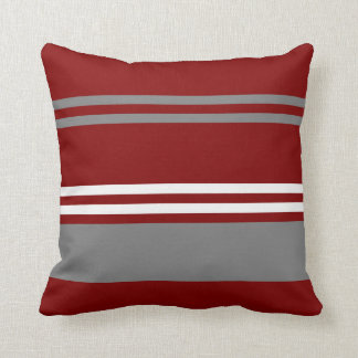 Red, Grey and White Stripe Throw Pillow