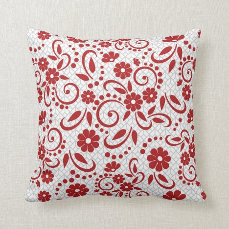 Red grey and white whimsical floral throw pillow
