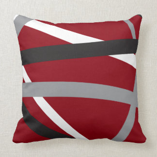 RED GREY BLACK STRIPES DESIGN Retro Throw Pillow