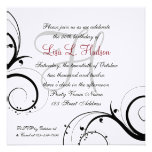 Red Grey Black White Swirls 50th Birthday Personalized Announcements