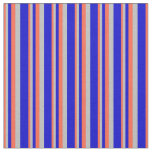 [ Thumbnail: Red, Grey & Blue Colored Pattern of Stripes Fabric ]