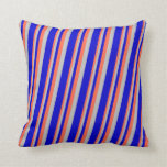 [ Thumbnail: Red, Grey & Blue Colored Pattern of Stripes Pillow ]