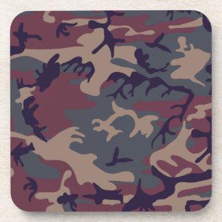 Red grey brown camouflage design beverage coaster