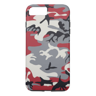 Red Grey Camo Camouflage Pattern iPhone 7 Plus Case