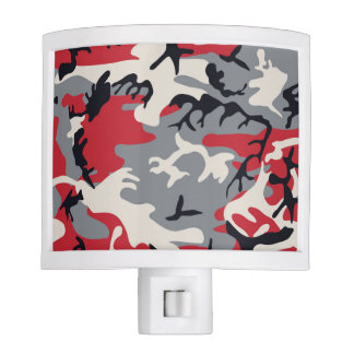 Red Grey Camo Camouflage Pattern Night Light