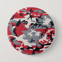 Red Grey Camo Camouflage Pattern Pinback Button