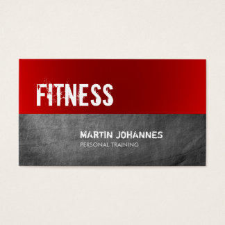 Red Grey Chalkboard Personal Trainer Business Card