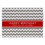 Red Grey Chevron Business From Group Birthday Card