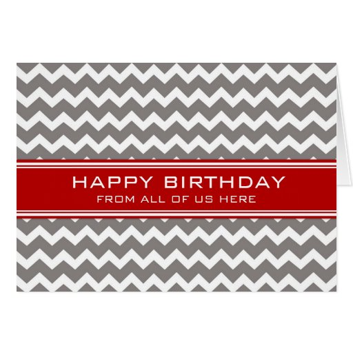 Red Grey Chevron Business From Group Birthday Greeting Card