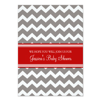 Red Grey Chevron Custom Baby Shower Invitations