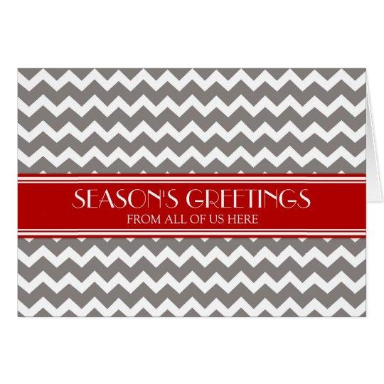 Red Grey Chevron Customer Season's Greetings Card