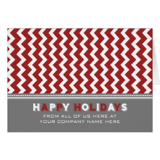 Red Grey Chevron Employee Season's Greetings Card