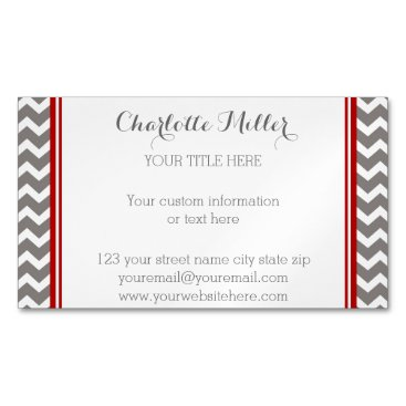 Professional Business Red Grey Chevron Magnetic Business Card