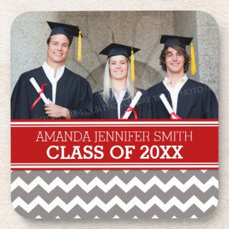 Red Grey Chevron Photo Graduation Coaster Set