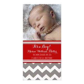Red Grey Chevron Photo New Baby Birth Announcement