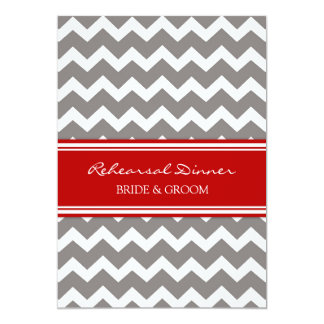 Red Grey Chevron Rehearsal Dinner Party 5x7 Paper Invitation Card