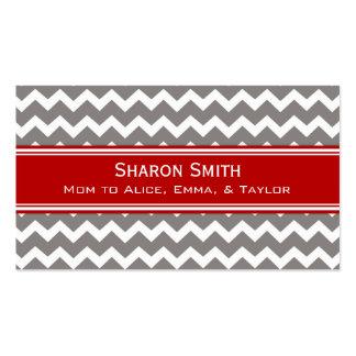 Red Grey Chevron Retro Mom Calling Cards