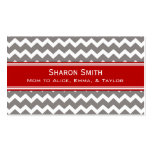 Red Grey Chevron Retro Mom Calling Cards Business Card