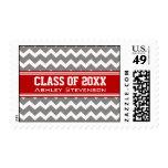 Red Grey Chevrons Graduation Custom Name Stamps