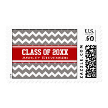 Red Grey Chevrons Graduation Custom Name Stamps